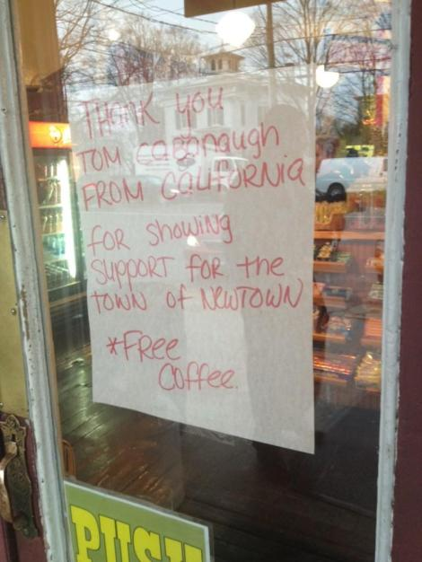 @TVMarci snapped this pic. Tom called and bought the entire town free coffee.